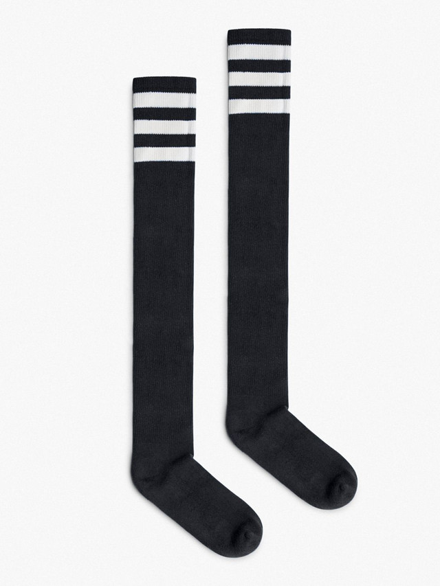 Stripe Thigh-High Socks (Black/White)