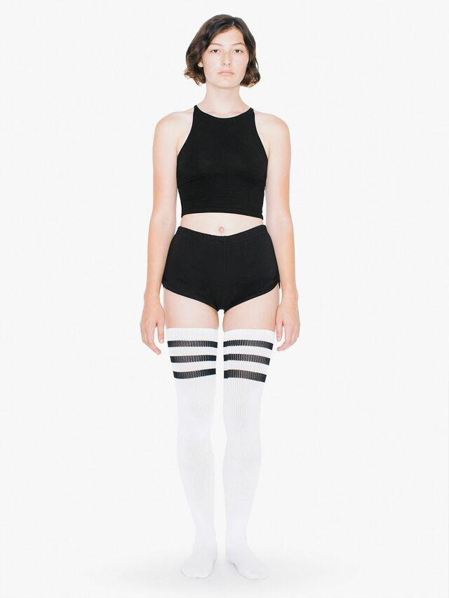 Stripe Thigh-High Socks (White/Black)