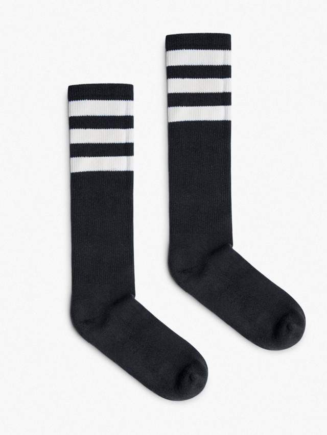 Unisex Stripe Calf-High Sock (Black/White)