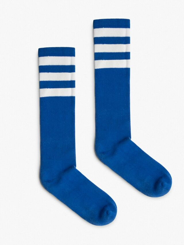 Unisex Stripe Calf-High Sock (Royal Blue/White)