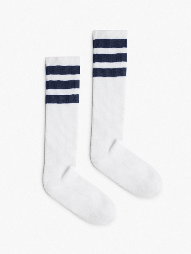 Unisex Stripe Calf-High Sock (White/Navy)