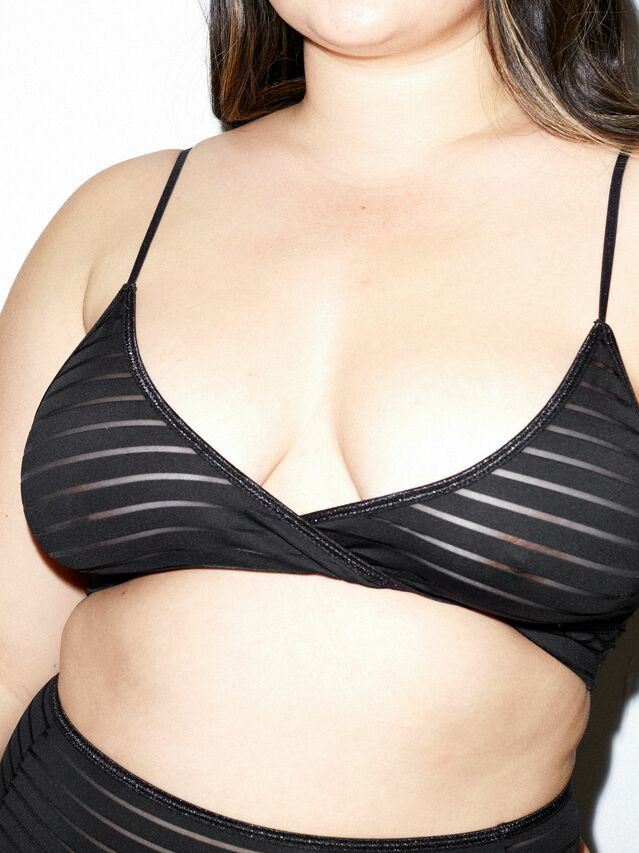 Shadow Stripe Crossfront Bralette (Black)