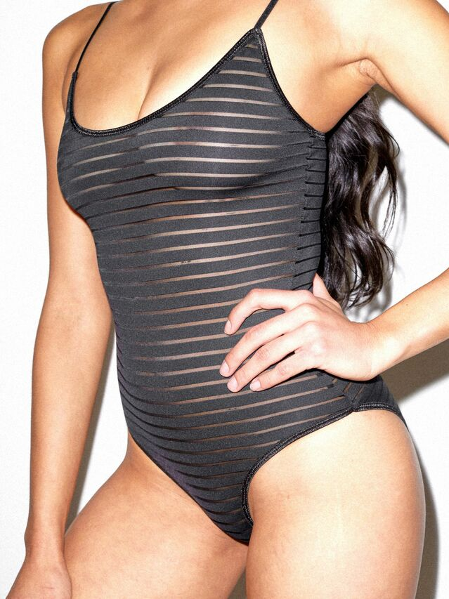 Shadow Stripe Bodysuit (Black)