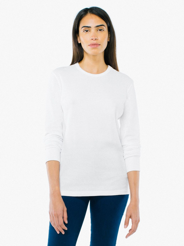 Unisex Baby Thermal Long Sleeve T-Shirt (White)