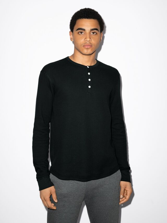 Baby Thermal Henley Long Sleeve T-Shirt (Black)