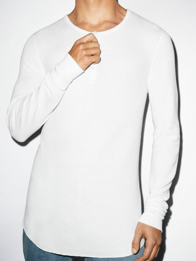 Baby Thermal Henley Long Sleeve T-Shirt (White)