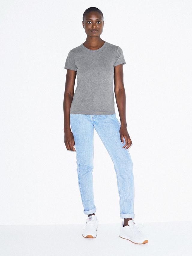 Tri-Blend Slim Fit Crewneck Track T-Shirt (Athletic Grey)