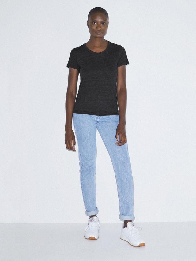 Tri-Blend Slim Fit Crewneck Track T-Shirt (Tri-Black)