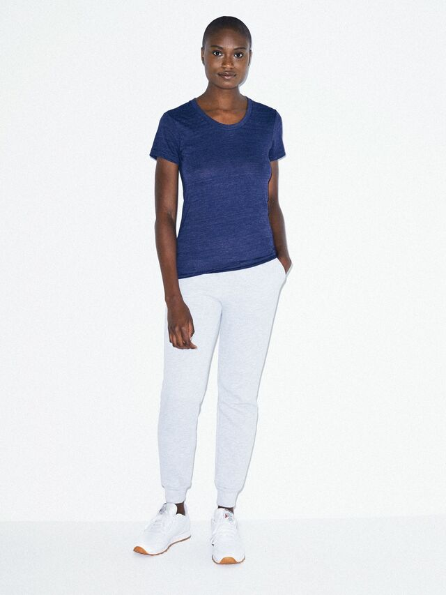 Tri-Blend Slim Fit Crewneck Track T-Shirt (Tri-Indigo)
