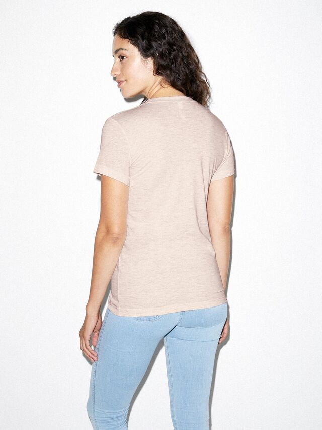 Tri-Blend Slim Fit Crewneck Track T-Shirt (Tri-Oatmeal)