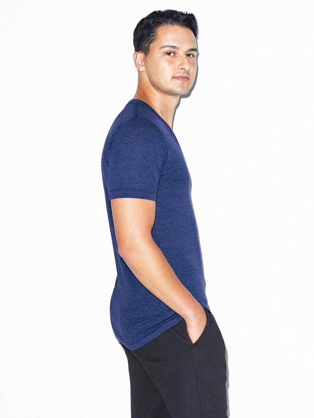 Tri-Blend Deep V-Neck T-Shirt (Tri-Indigo)