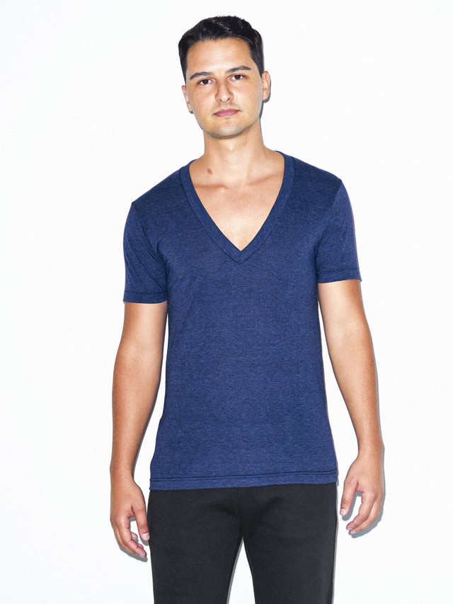 Tri-Blend Deep V-Neck T-Shirt (Tri-Indigo)