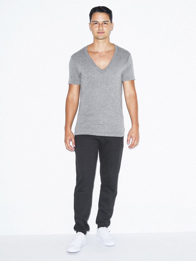 Tri-Blend Deep V-Neck T-Shirt (Athletic Grey)