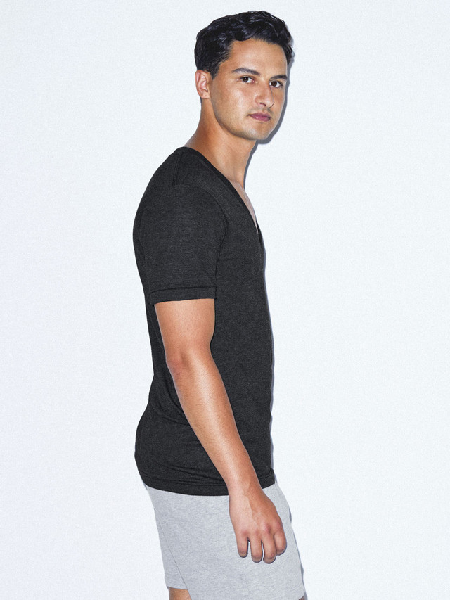 Tri-Blend Deep V-Neck T-Shirt (Tri-Black)