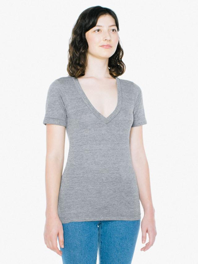 Unisex Tri-Blend Deep V-Neck T-Shirt (Athletic Grey)