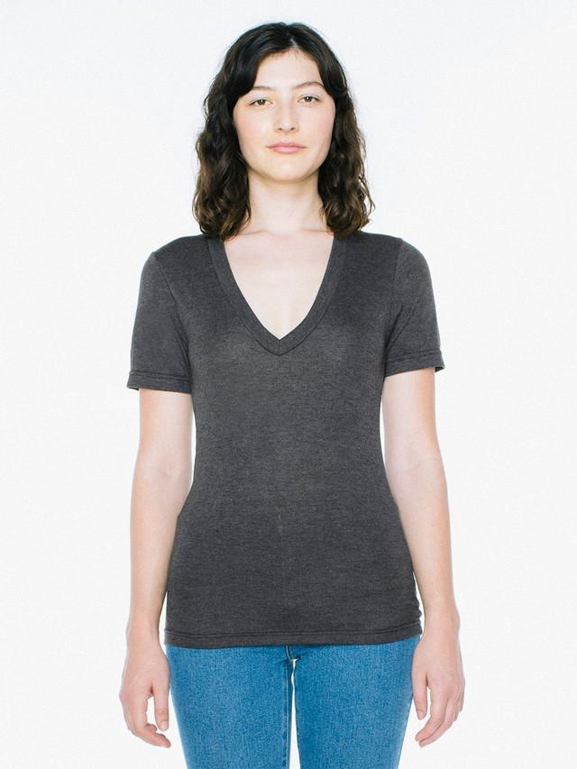 Unisex Tri-Blend Deep V-Neck T-Shirt (Tri-Black)