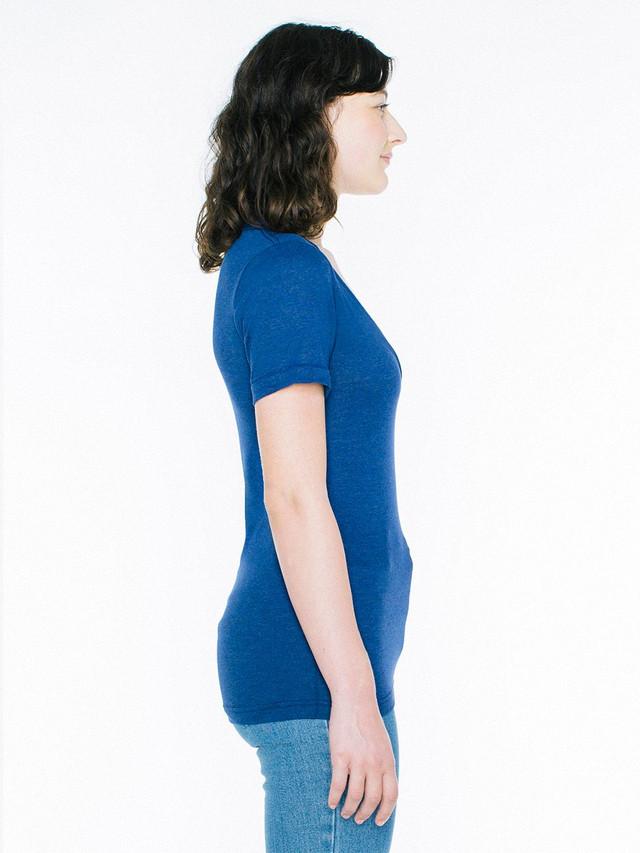 Unisex Tri-Blend Deep V-Neck T-Shirt (Tri-Indigo)