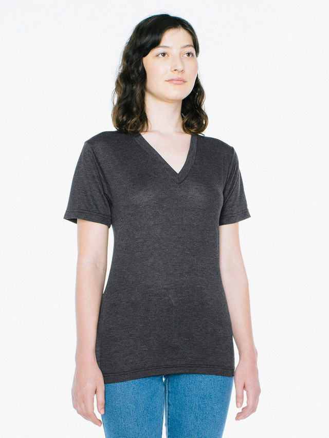 Unisex Tri-Blend V-Neck T-Shirt (Tri-Black)