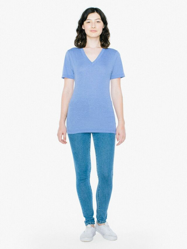 Unisex Tri-Blend V-Neck T-Shirt (Athletic Blue)