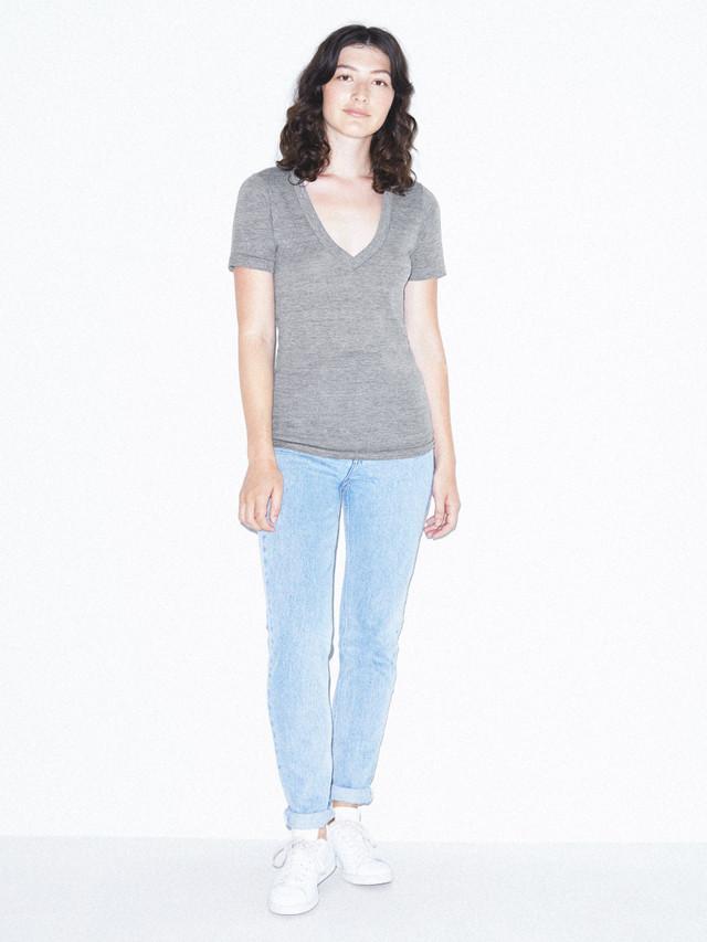 Unisex Tri-Blend V-Neck T-Shirt (Athletic Grey)
