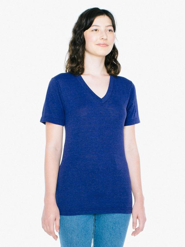Unisex Tri-Blend V-Neck T-Shirt (Tri-Indigo)