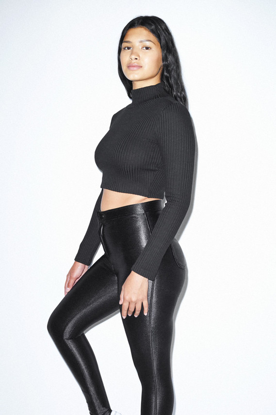 Thick Rib Long Sleeve Crop Turtleneck (Black)