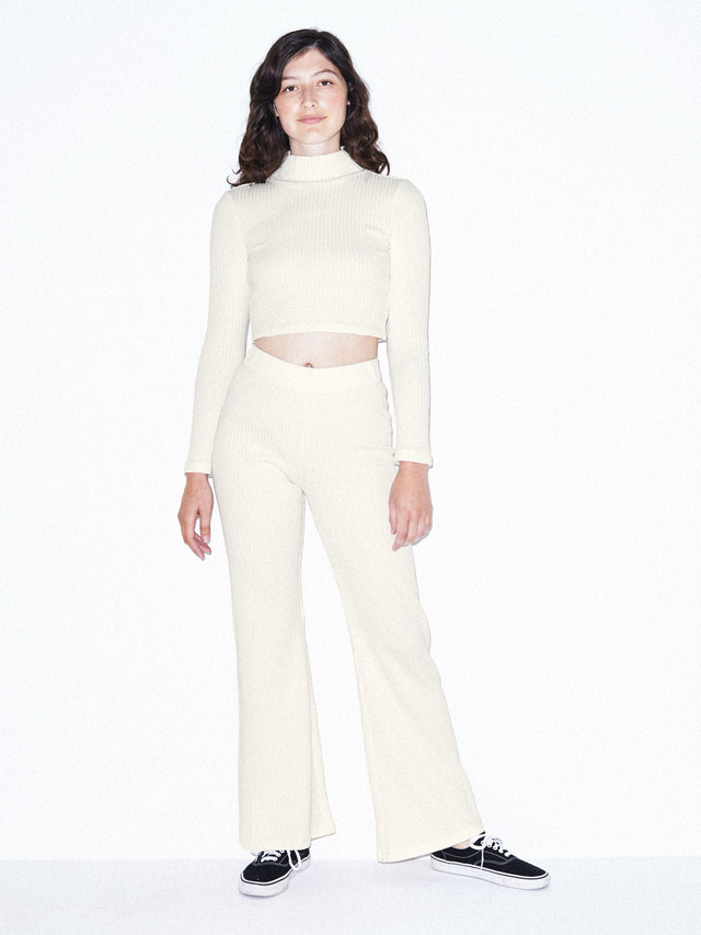 Thick Rib Long Sleeve Crop Turtleneck (Star White)