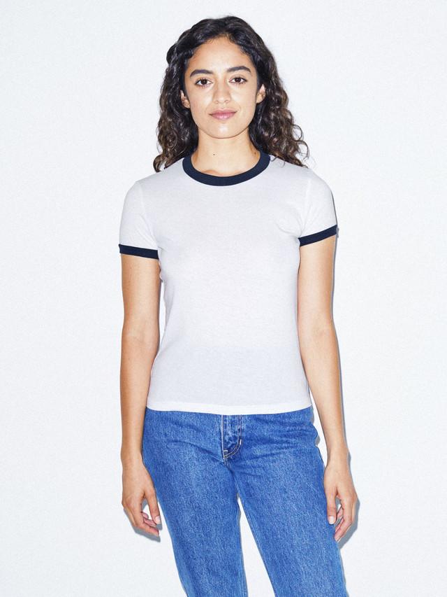 50/50 Classic Ringer T-Shirt (White/Navy)