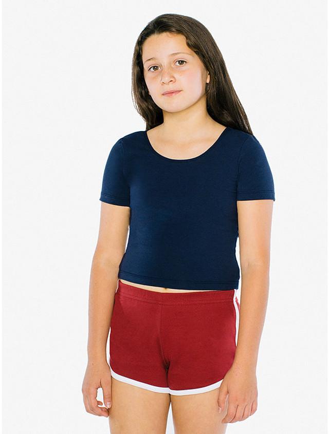 Kids' Cotton Spandex Jersey Crop T-Shirt