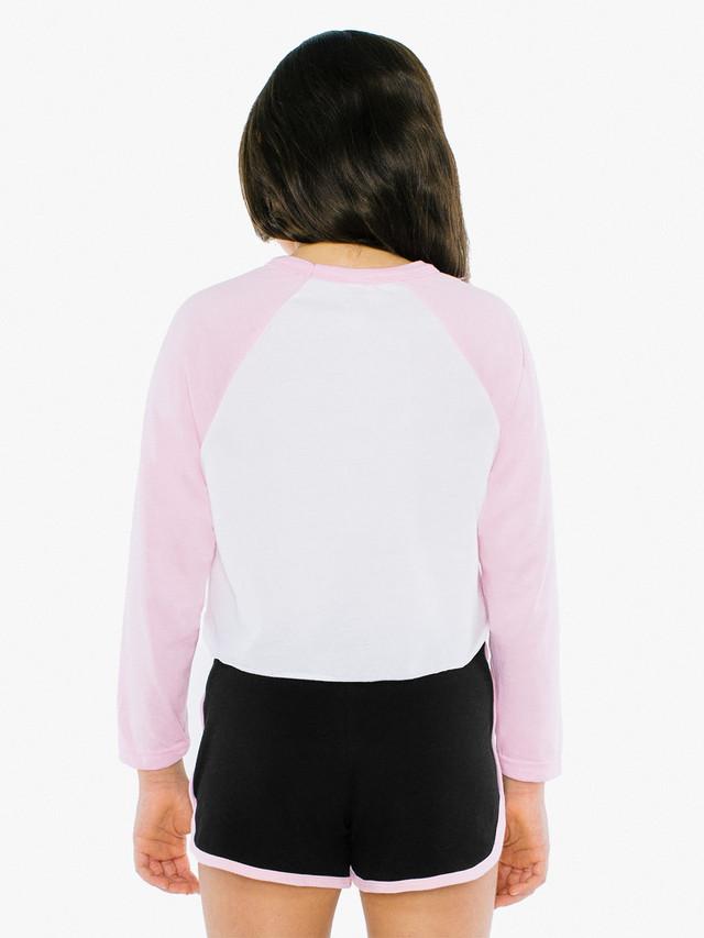 Kids' 50/50 Cropped 3/4 Sleeve Raglan (White/Pink)