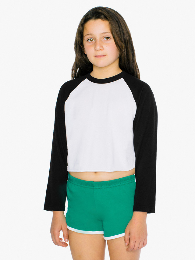 Kids' 50/50 Cropped 3/4 Sleeve Raglan (White/Black)