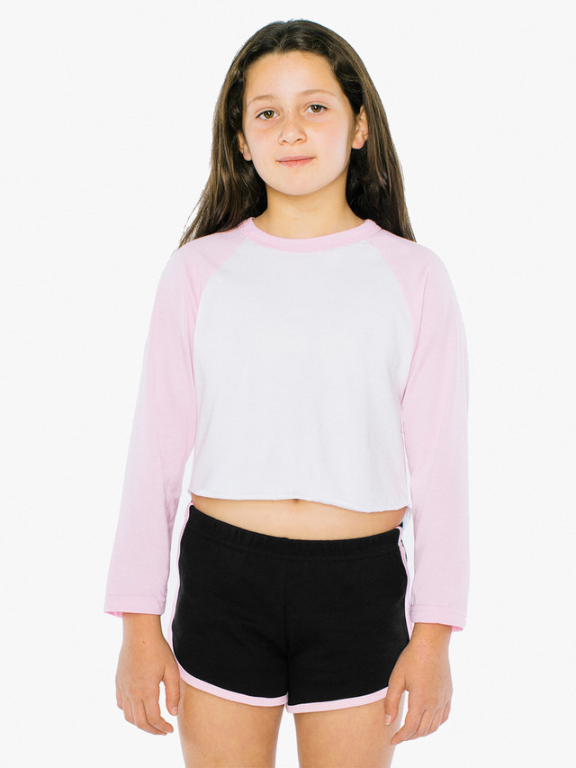Kids' 50/50 Cropped 3/4 Sleeve Raglan (White/Pink)