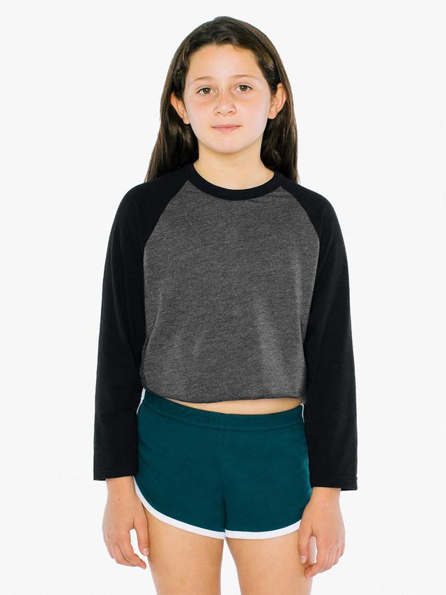 Kids' 50/50 Cropped 3/4 Sleeve Raglan (Heather Black/Black)