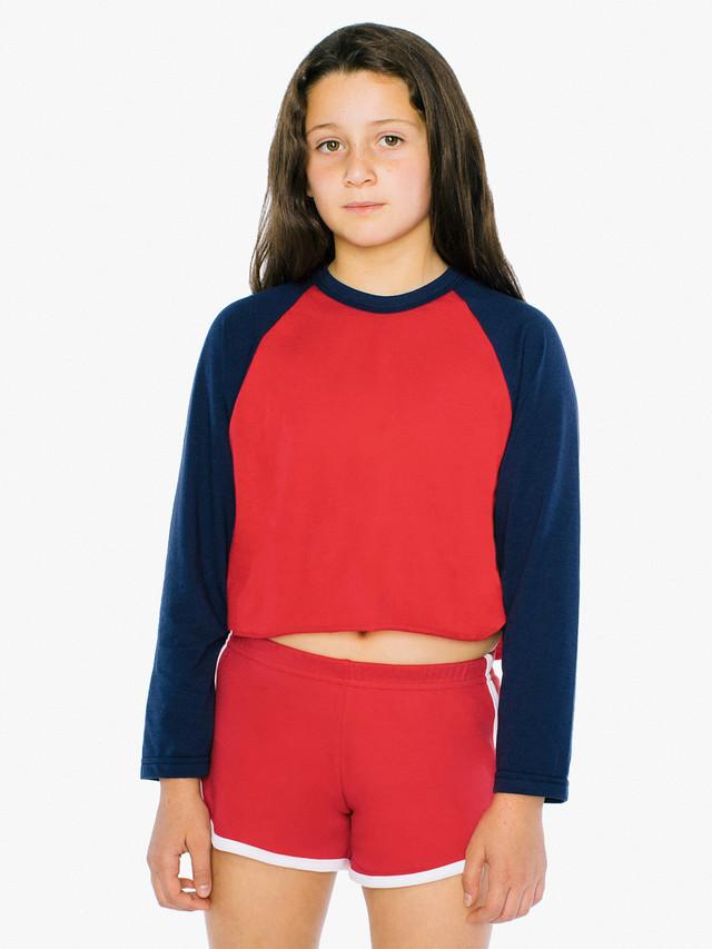 Kids' 50/50 Cropped 3/4 Sleeve Raglan (Red/Navy)
