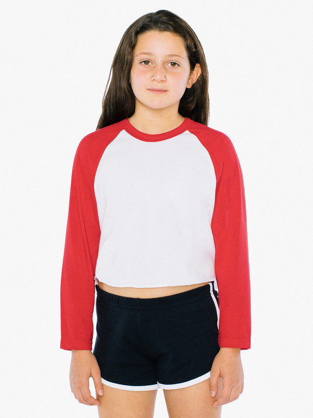 Kids' 50/50 Cropped 3/4 Sleeve Raglan (White/Red)