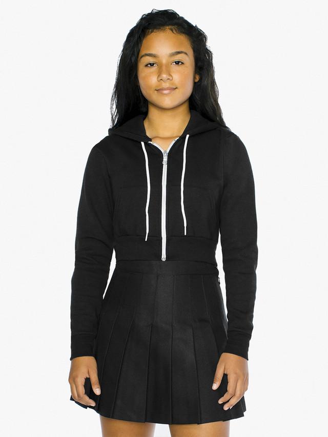 Kids' Flex Fleece Cropped Zip Hoodie (Black)