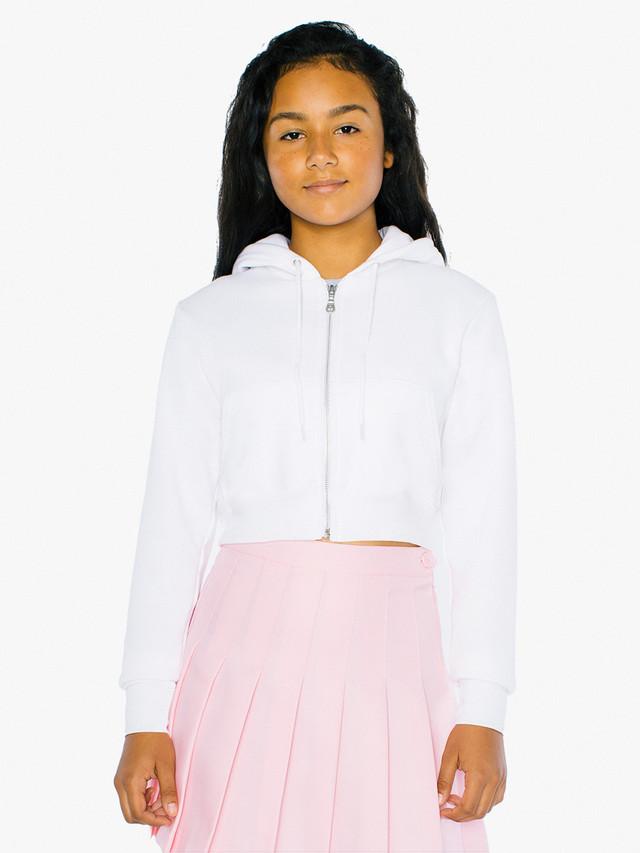 Kids' Flex Fleece Cropped Zip Hoodie (White)
