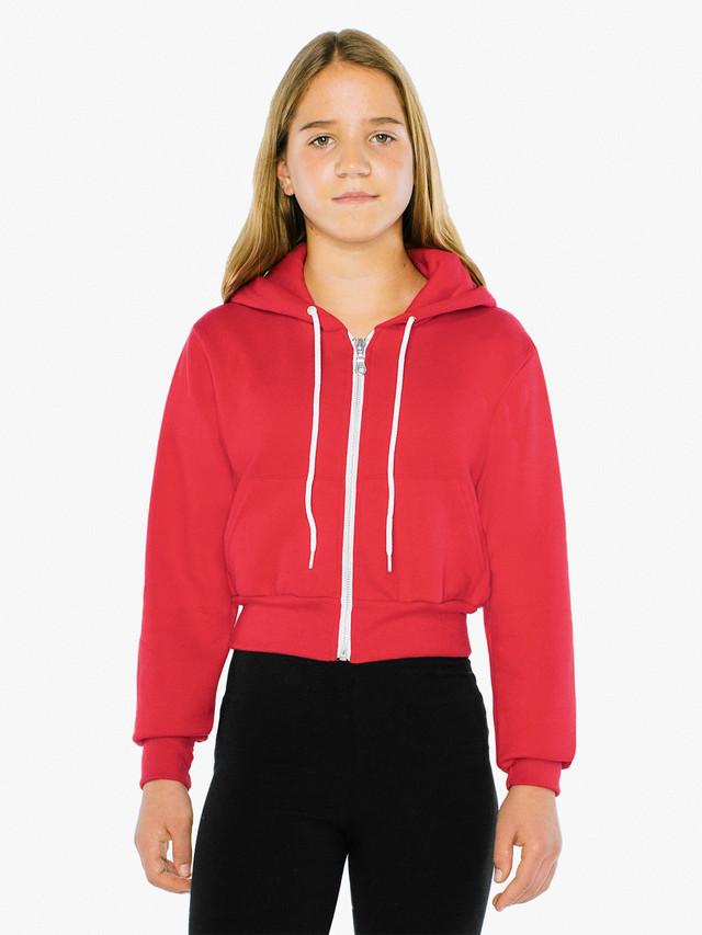 Kids' Flex Fleece Cropped Zip Hoodie (Red)