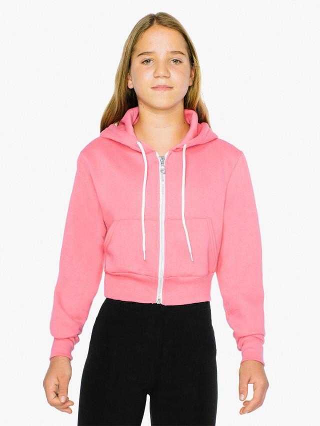 Kids' Flex Fleece Cropped Zip Hoodie (Deep Pink)