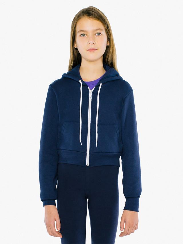 Kids' Flex Fleece Cropped Zip Hoodie (Navy)