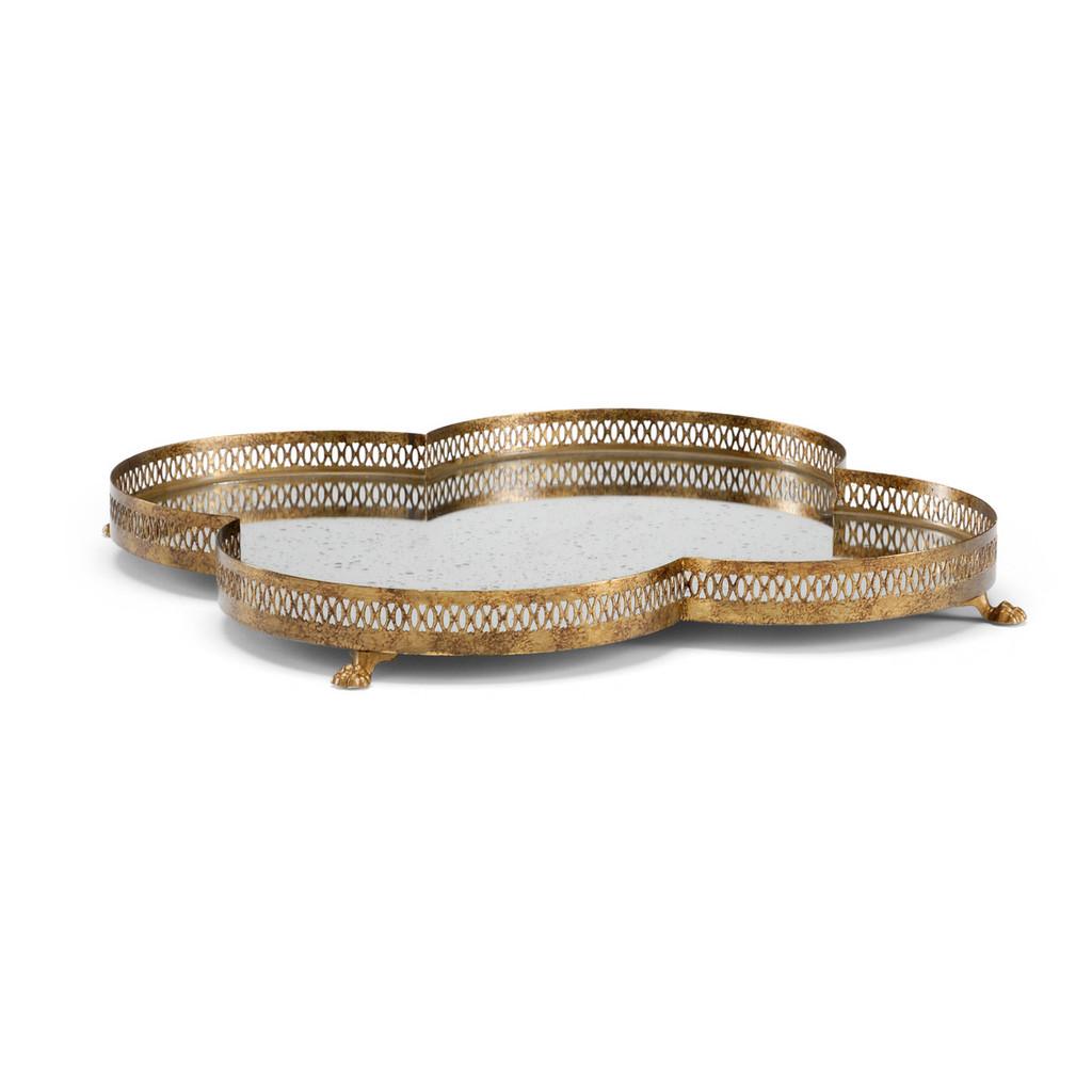Antique Mirrored Gold Quatrefoil Tray Large