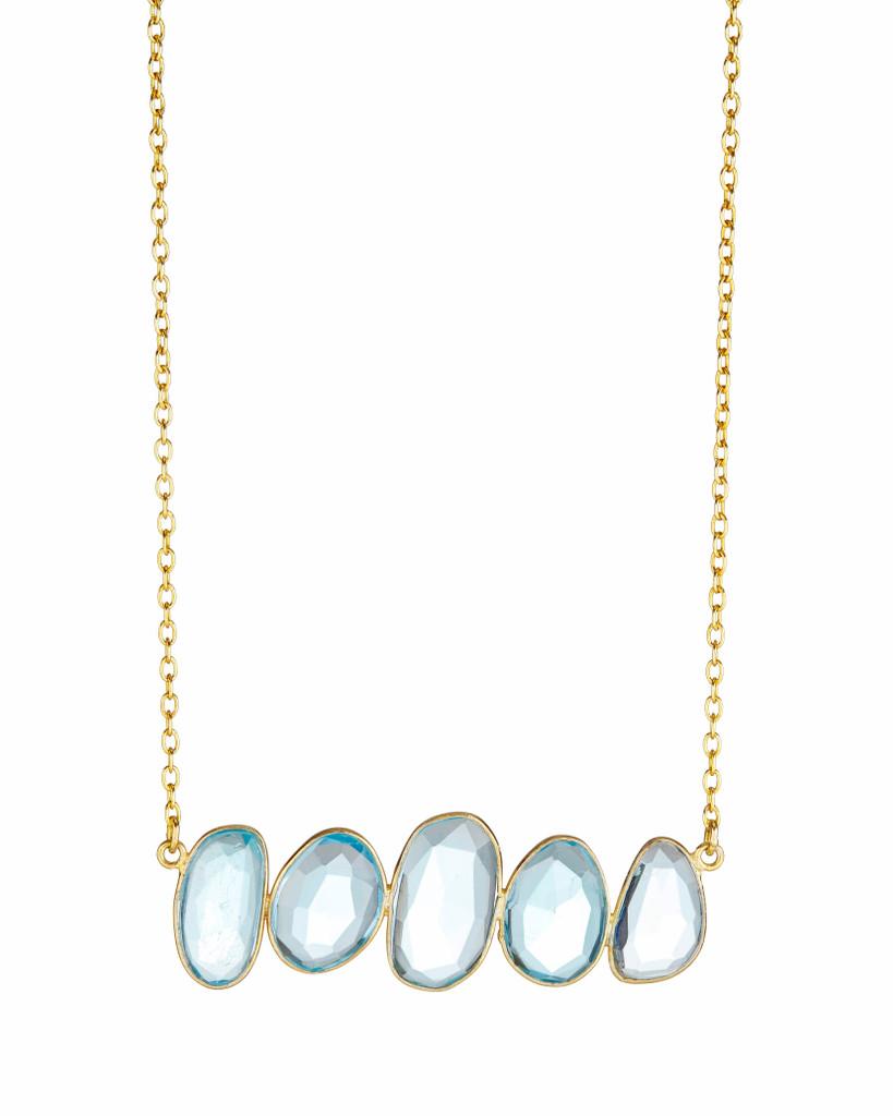 Sky Blue Quartz Bar Necklace