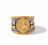 Coin Crest Ring Mix Metal
