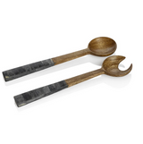 Mango Wood Salad Servers with Bone Inlay
