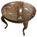 Round Marble Top Oak Coffee Table