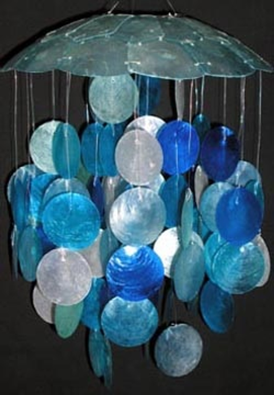Blue and White Capiz Wind Chime (single)