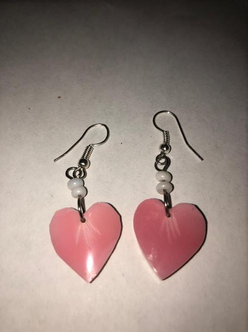 Pink Conch Earrings Heart