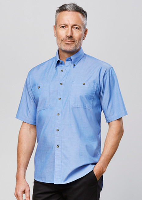 5024 Men's S/S Wrinkle Free Chambray Shirt