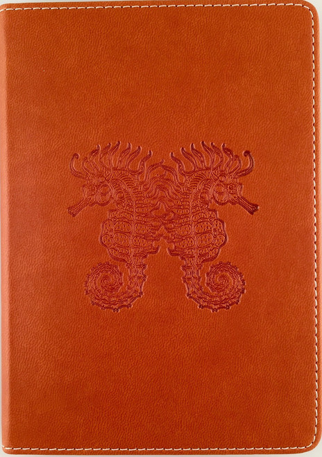 Small Lined Writing Journal Firenze Saddle Tan with Debossed Seahorses