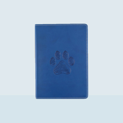 Small Lined Writing Journal Firenze Royal Blue with debossed Pawprint